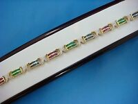 18K YELLOW GOLD EMERALD,RUBY,SAPPHIRE & DIAMOND LADIES TENNIS BRACELET,17 GRAMS