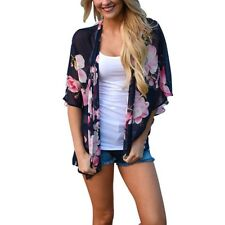 Women Kimono Jacket Chiffon Cardigan Loose Sleeve Top Blouse Beach Cover Up Tops