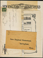 1909 New England Homestead Mass. Advertising Covers Letter & Booklet