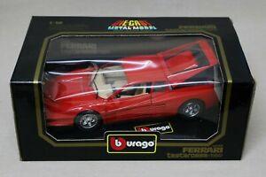 Burago Red Ferrari Testarossa (1984) - 1/18 Scale Diecast Metal Model - #3019