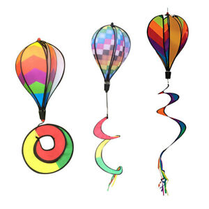 3pcs Colorful Wind Spinner Windmill Windsock Hot Air Balloon Lawn Decor