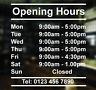 Opening hours times - Shop Window Door Vinyl Sign Sticker Customised 300mmX255mm