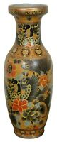 Chinese Moriage Satsuma Style Vase Floral Peacock Yellow