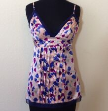 Women's Walter 100% Silk Pink & Blue Floral Tank Top Size 2 XS Ex Small