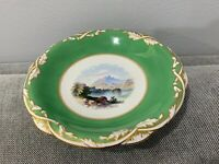 Antique English Davenport Porcelain Compote Green Gold Mountain Landscape Scene