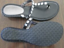 WOMENS COLE HAAN BLACK LEATHER SANDLES FLIP-FLOP WITH CRYSTALS SZ. 6