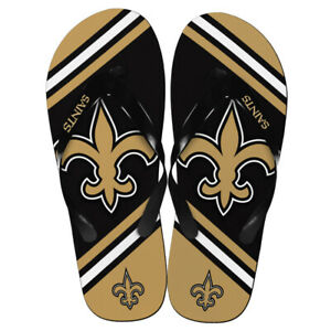 New Orleans Saints NFL Unisex Large Logo Flip Flops ~ NWT