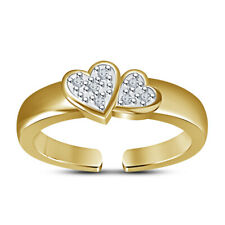 Adjustable Double Heart Wedding Band Round Cut Diamond Toe Ring Solitaire