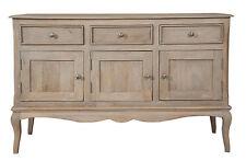 Loire French Grey Solid Mango Wood Triple Sideboard / 3 Door 3 Drawer Sideboard