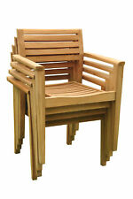 QTY 2 STACKING DINING ARM CHAIR A GRADE TEAK GARDEN OUTDOOR PATIO - MONT NEW