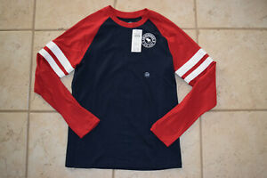 NWT Boy's Abercrombie Kids Red and Navy Striped Sleeve LS Shirt sz 11/12