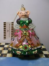 MacKenzie Childs PIGEEN 53914-37 Pig in Christmas Gown Ornament New NIB Box+Tag
