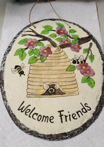 Welcome Friends Hanging Stone Sign With Bee's & Hive with Cherry Blossom Flowers