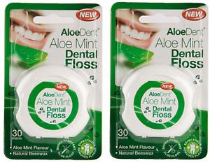 2x AloeDent Aloe Mint Flavoured Dental Floss ( 30 Metre )
