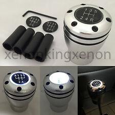 JDM Manual Transmission WHITE LED Light Silver Sport Gear Stick #e18 Shift Knob