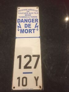 Vintage Industrial French Danger Electricity  Aluminium Sign Plaque