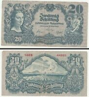 1945 Austrian Republic (Allied Occupied) 20 Schillings - High Quality Banknote