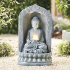 Serenity Garden 60cm Buddha Water Feature Led Light Outdoor Fountain Decor New