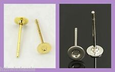 100 4mm Silver,Gold,Black,Mixed Stud Earring Blank,Jewellery Making,Wholesale UK