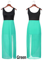 Elegant Pleated Women Dress Summer Ladies Chiffon Sleeveless Cocktail Long Maxi