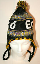 Marc Ecko UNLTD Black Yellow Knit Winter Hat Cap Hat New Tag OSFM $30 Pom-pom