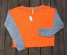 Aeropostale Bright Orange Gray Crew Sweater Acrylic Juniors Size XL NWT
