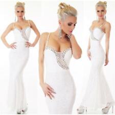Noble Full-Length Mermaid Strap Dress off Peak Cream White #AK1251