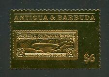 ANTIGUA GOLD FOIL STAMP ON STAMP US $2.60 GRAF ZEPPELIN MINT NH OFFICIAL ISSU#41