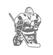 Hockey Goalie Sudden Shadow Peel & Stick Mini Mural Applique 02252