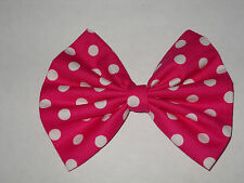 MINNIE MOUSE HAIR BOW, DISNEY INSPIRED,  HOT PINK & WHITE POLKA DOT