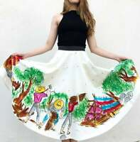 Vintage VTG 50s 1950s Mexican Hand Painted Vibrant Full Circle Sequin Skirt