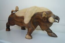 Large Hand Carved Bull In Solid Rosewood