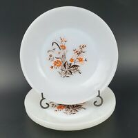 "VTG Set of 4 TERMOCRISA MILK GLASS 7"" Salad Plates Orange/Brown Floral MCM"