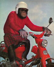 1959 Vintage MONKEY HUMOR Chimpanzee Riding SCOOTER Moto Helmet Animal Photo Art