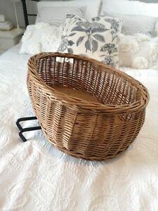 Vintage Wicker Bicycle Front Or Rear Handlebar Basket  Pot Bellied Adjustable