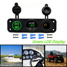 3in1 Function 3-Hole Panel Dual USB Charger Voltmeter 12V Socket With Green LED