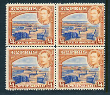 CYPRUS 1938-51 DEFINITIVES SG151 (¼ PIASTRE) BLOCK OF 4 MNH