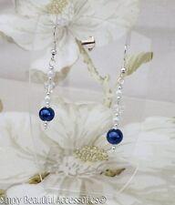 Faux Glass Pearl Vintage Style Handmade Navy White Pierced Dangle Earrings