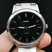 New Old Stock FOSSIL Minimalist FS5307 Black Face Stainless Steel Quartz Watch