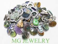 BULK SALE ! Wholesale 10Pcs Mix Pendant Lot Gemstone 925 Sterling Silver Plated