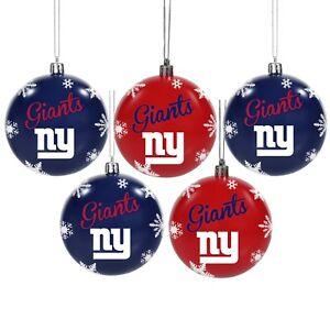 New York Giants Shatterproof BALLS Christmas Tree Holiday Ornaments Set 5 pack