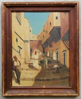 Antique Oil on Board Painting Vintage North African Algerian Street Scene Donkey
