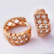 Fashion Classic openwork 9k Gold Filled clear CZ womens Hoop Earrings Gifts
