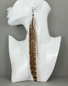 """Brown real feather earrings dangle 9"""" light shoulder duster super extra long"""