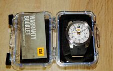 NEW Men's Caterpillar T7 CAT Silver AB14121237 Black Rubber Date Analog Watch
