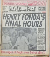 NY Post Henry Fonda Final Hours, Salvador Sanchez Boxer Dead/Dies 1982 Newspaper