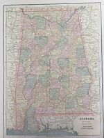 Antique COLOR MAP of Alabama-circa 1893