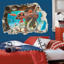 3D Moana Wall Stickers Cartoon Movie Vaiana Wall Paper Decals For Kids Room
