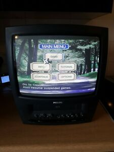 Vintage phillips tv VCR combo retro gaming crt