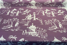 Chinoiserie Toile Lavender Iza C Linen Drapery Upholstery Fabric by the yard